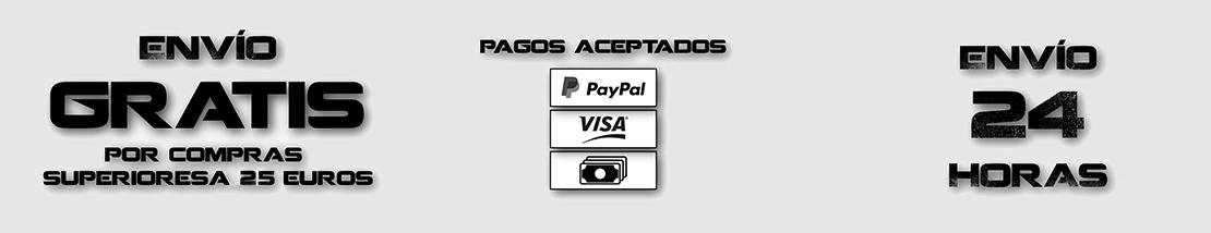 Envío Gratis con compras superiores a 25 Euros, envío en 24 horas y se aceptan pagos con PayPal, Tarjeta y Transferencia.